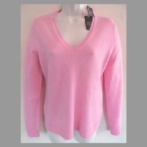NWT Pink cashmere sweater S V-neck Lord & Taylor